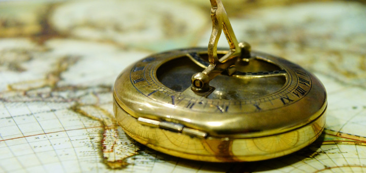 An antique map and compass.